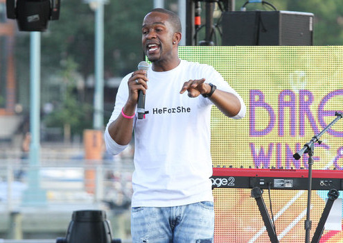 NEW YORK, NY - JUNE 26: Former NFL player Wade Davis speaks at New York City Pride 2015 Rally at Pier 26 on June 26, 2015 in New York City. (Photo by Rob Kim/WireImage)