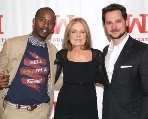 NEW YORK, NY - APRIL 27: (L-R) Retired professional football player Wade Davis, feminist/political activist Gloria Steinem and actor Matt McGorry attend the 2016 Gloria Awards: A Salute To Women of Vision Gala held at The Pierre Hotel on April 27, 2016 in New York City. (Photo by Brent N. Clarke/Getty Images)
